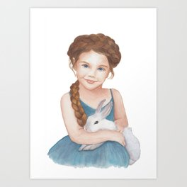 Little girl stroking  bunny Art Print