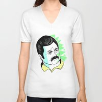 swanson V-neck T-shirts featuring Ron Swanson.  by The Half Guava