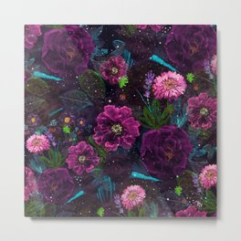 Whimsical Watercolor night garden floral hand paint Metal Print