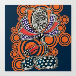 Madhubani - Lotus Fish 2 Canvas Print