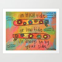high tide low tide by your side painting Art Print