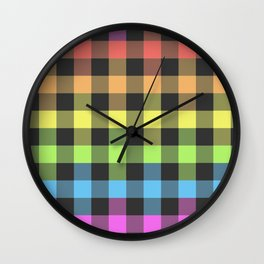 colorful plaid - colorful checkered Wall Clock