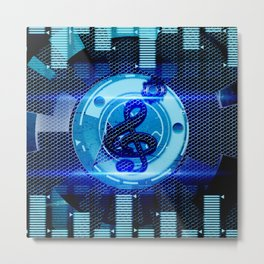 Clef on blue technical design Metal Print