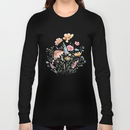 wild flower bouquet and blue bird- ink and watercolor 2 Long Sleeve T-shirt