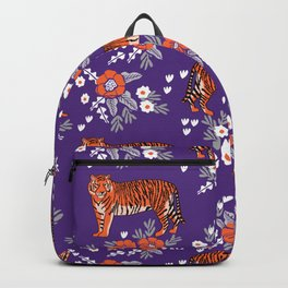 Tiger Clemson purple and orange florals university fan variety college football Backpack
