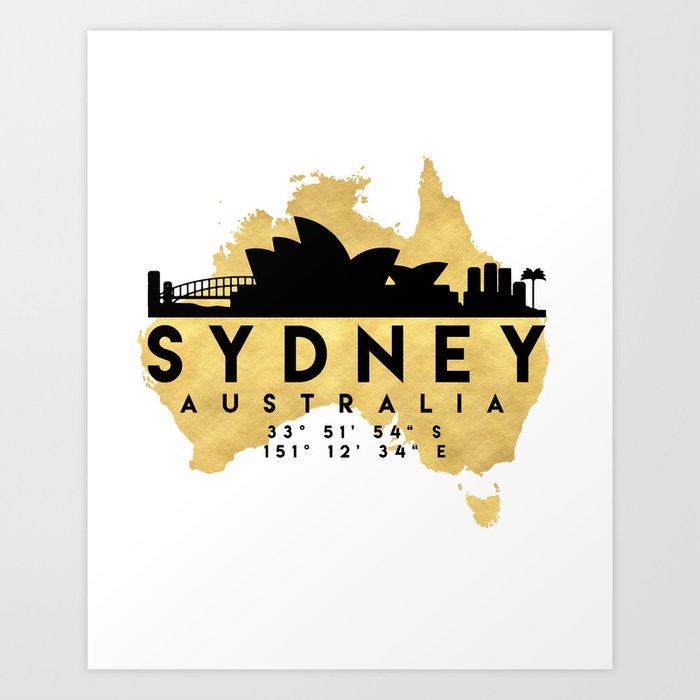 Australia Map Art.Sydney Australia Silhouette Skyline Map Art Art Print By Deificusart