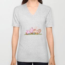 Fun on the Farm: Pigs Unisex V-Neck