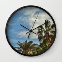palms Wall Clocks featuring Palms by Magic Emilia