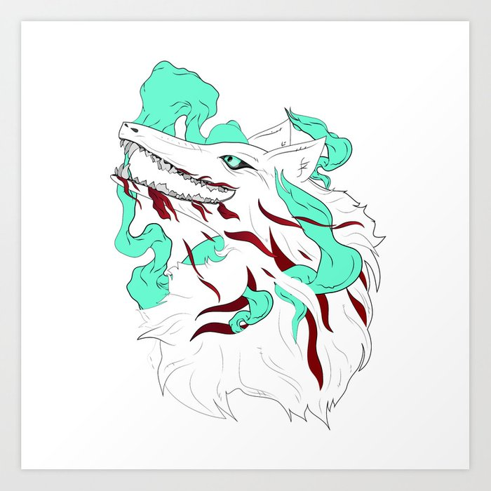 White Evil Wolf Art Print