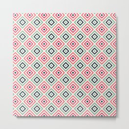 Pink Green Geometric Pattern Metal Print