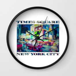 Times Square New York City (digital repaint poster edition) Wall Clock
