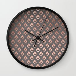 Faux rose gold foil triangles chevron pattern geometric grey concrete cement Wall Clock