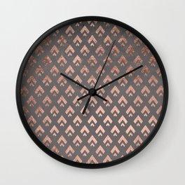 Faux rose gold foil triangles chevron pattern geometric grey concrete cement Wall Clock