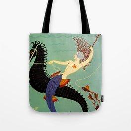 "Art Deco Illustration ""Water"" Tote Bag"