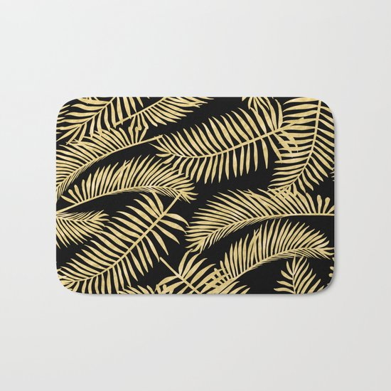Palm Leaf Pattern Gold And Black Bath Mat