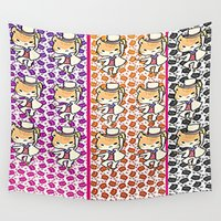 returns Wall Tapestries featuring the cat returns  by grapeloverarts