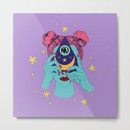 Girl No Ouija - Purple Metal Print