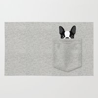 boston terrier Area & Throw Rugs featuring Pocket Boston Terrier - Black by Anne Was Here