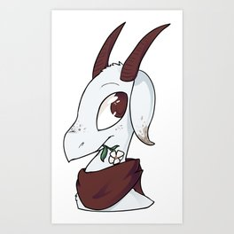 Goat with a flower Art Print