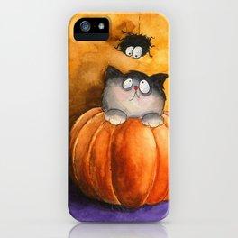 A pumpkin, a cat and a spider iPhone Case