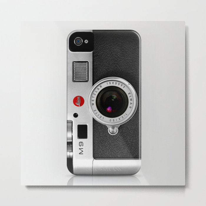 classic retro Black silver Leather vintage camera iPhone 4 4s 5 5c, ipod, ipad case Metal Print