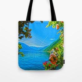 Flower-framed Lake Como Tote Bag