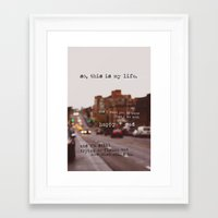 the perks of being a wallflower Framed Art Prints featuring perks of being a wallflower - happy + sad by lissalaine