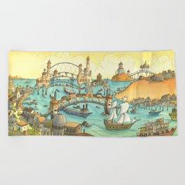 Ship City Beach Towel