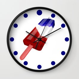 Popsicle Red White and Blue Wall Clock