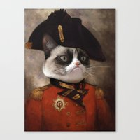 general Canvas Prints featuring Angry cat. Grumpy General Cat.  by UiNi