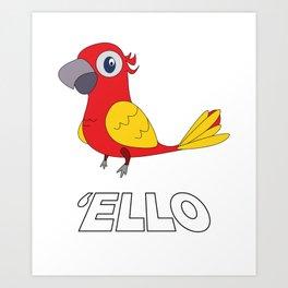 Used to be Noisy But Funny Talking Bird Tshirt Design  ello Art Print