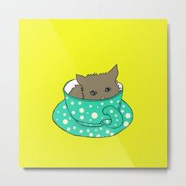Kitten In A Teacup Metal Print