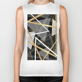Original Gray and Gold Abstract Geometric Biker Tank
