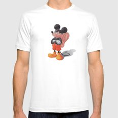 Mickey's Third Ear  White Mens Fitted Tee MEDIUM