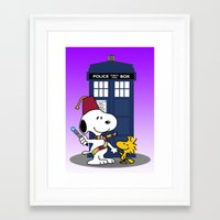snoopy Framed Art Prints featuring Snoopy Who by plasticdoughnut