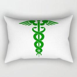 Caduceus Medical Symbol Green Rectangular Pillow