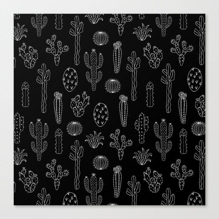 Cactus Silhouette White And Black Leinwanddruck