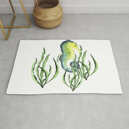 Abstract Watercolor Seahorse Seaweed on White Minimalist Coastal Art - Coast - Sea - Beach - Shore Rug