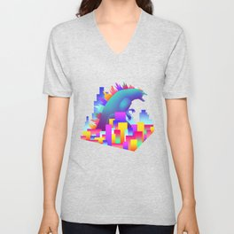 Neon city Godzilla Unisex V-Neck