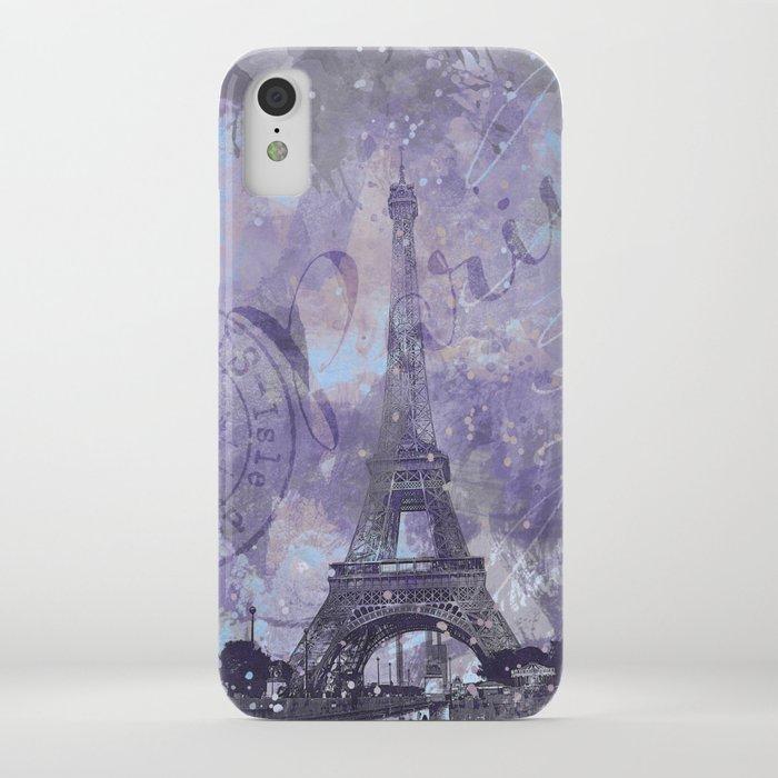 Purple Paris Watercolor Art iPhone Case