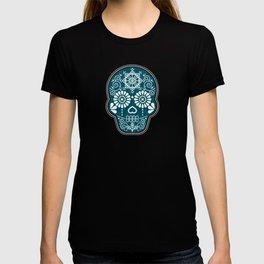 Día de Muertos Calavera • Mexican Sugar Skull – Teal & Bronze Palette T-shirt