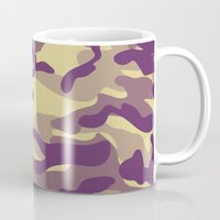 military Mugs featuring Purple Military Camouflage Pattern by SW Creation