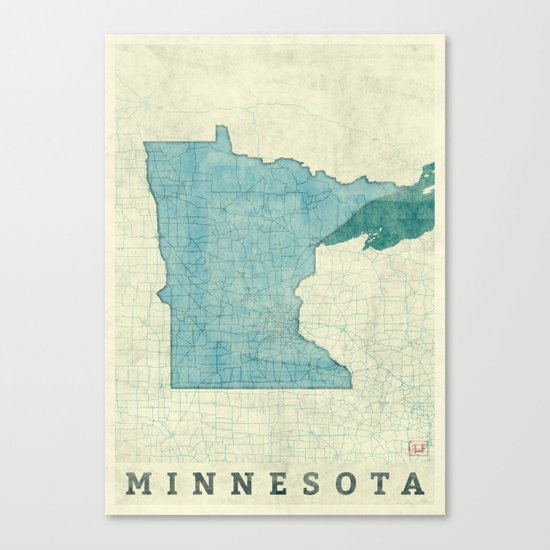 Minnesota State Map Blue Vintage Canvas Print