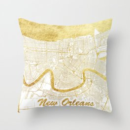 New Orleans Map Gold Throw Pillow
