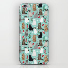 Catsmas cat christmas gifts pet friendly pet portraits holiday cat lady must haves iPhone Skin