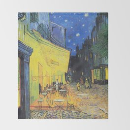Café Terrace at Night by Vincent van Gogh Throw Blanket