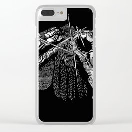 Geometric Black and White Drawing Kitting Hands Clear iPhone Case