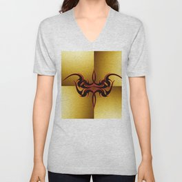 Red and Black Tattoo on Gold Unisex V-Neck