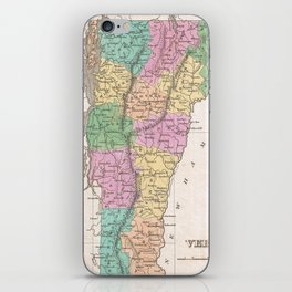 Vintage Map of Vermont (1827) iPhone Skin