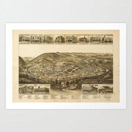 Aerial View of Harriman, Tennessee (1892) Art Print